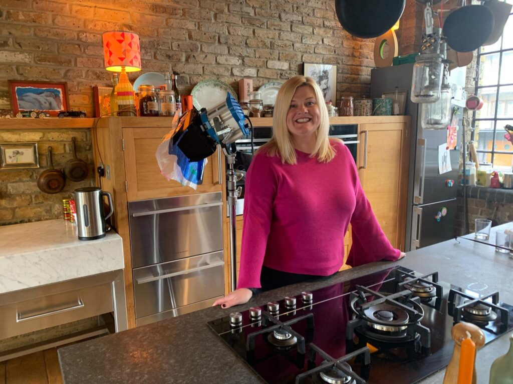 Filming on the set of Jamie Oliver's kitchen